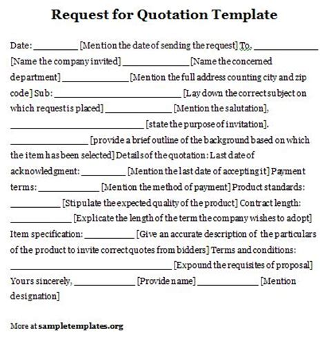request for quote template sle request for quotation template
