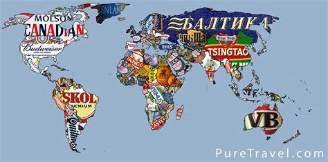 map of the world travel weltkarte der biere b o n z