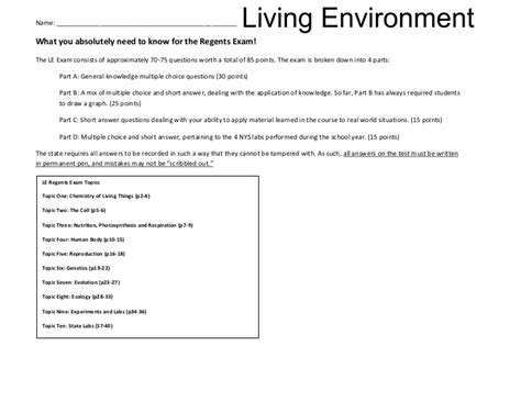 the pattern of numbers represents living environment biology dunleavy regents review revision