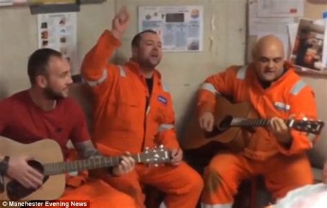 rig worker performs oasis song talk tonight o boost morale on the brent delta platform