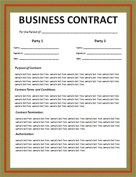 business agreements templates business contract layout free word templates