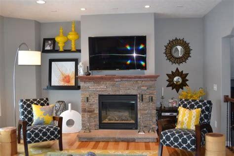 yellow  grey great room living room eat  kitchen