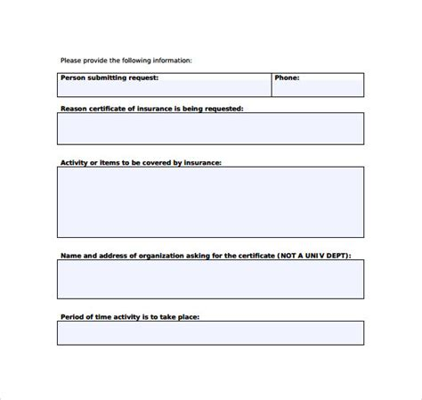request for template 15 certificate of insurance templates to sle