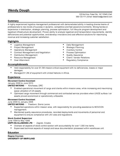 Automated Logistical Specialist Cover Letter best of logistics specialist sle resume resume daily