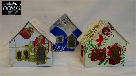 recycled card ornaments putz quot glitter quot house ornament using recycled