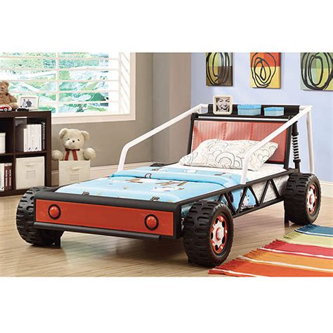 twin race car bed coaster twin race car bed black white red walmart com