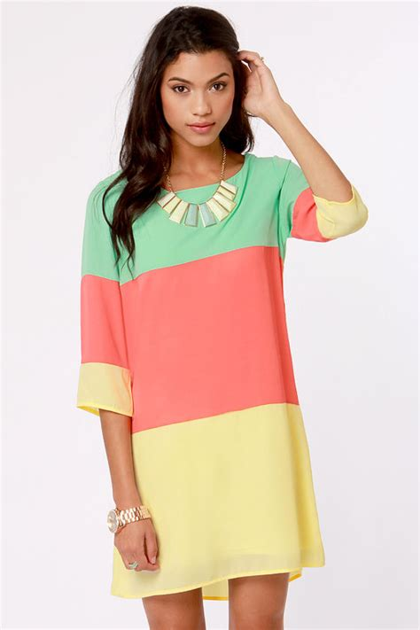 lulu s cute color block dress shift dress 40 00