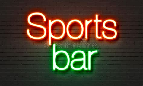sports bar neon sign  brick wall background stock photo