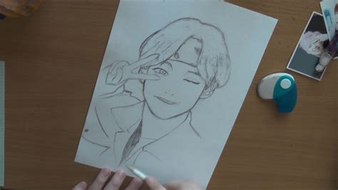 V Anime Drawing by Pencil Drawing Taehyung From Bts V Anime Version