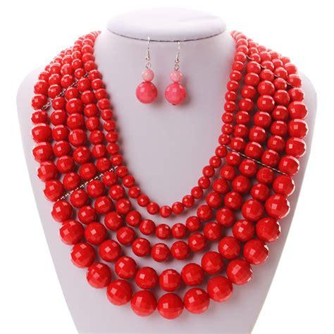 bead sets 2016 fashion pink bead jewelry sets plastic bead