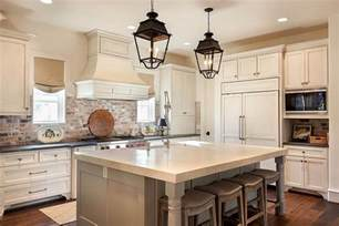 French Country Roman Shades - kitchen with red brick backsplash cottage kitchen