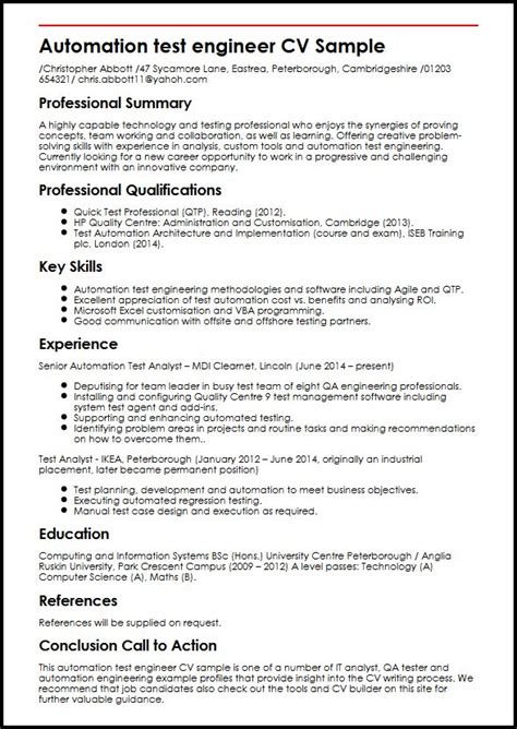 test engineer resume template automation test engineer cv sle myperfectcv