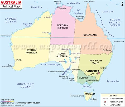 australia map with countries and capitals australia map states and capitals