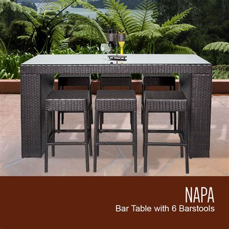 napa bar table set  backless barstools  piece outdoor