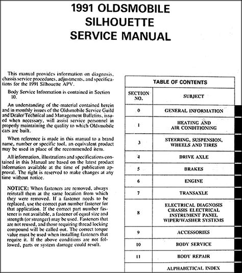 1993 oldsmobile silhouette workshop manual download