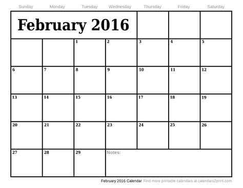 Printable Calendar 2016 January February March | february 2016 printable calendar