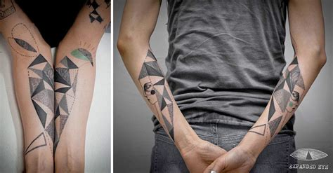 bored panda tattoo cubism artist duo creates surreal cubist tattoos based on clients