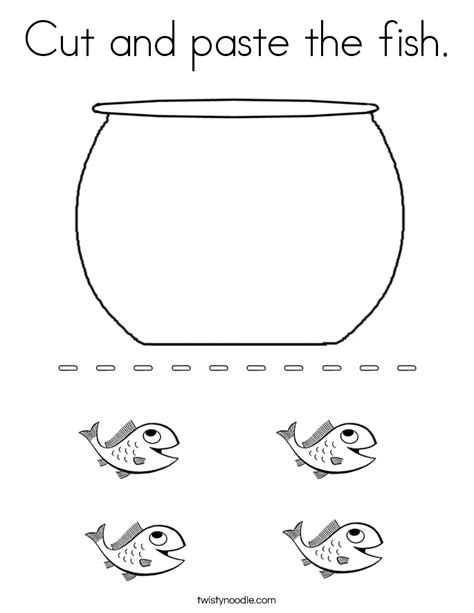 free printable preschool cut and paste activities cut and paste the fish coloring page twisty noodle