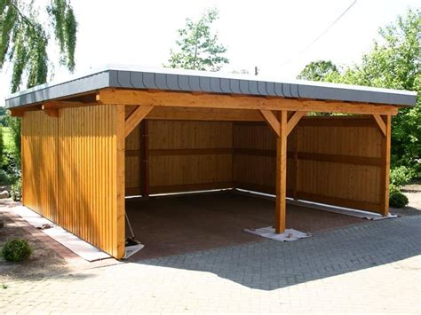 slant roof with enclosed sides carport