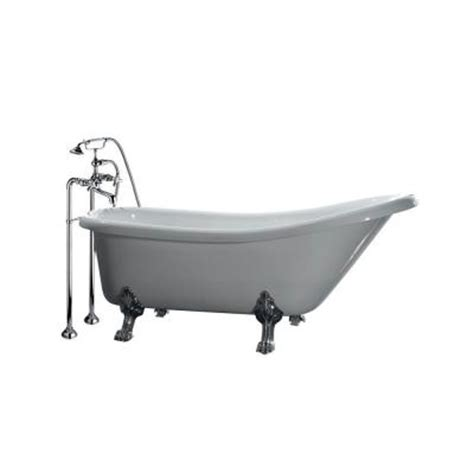 5 foot bathtub ove decors 5 5 ft acrylic claw foot slipper tub in white