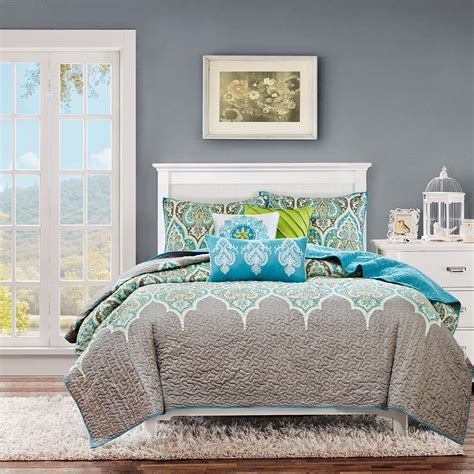 quilted coverlet set madison park nisha 6 piece quilted coverlet set ebay