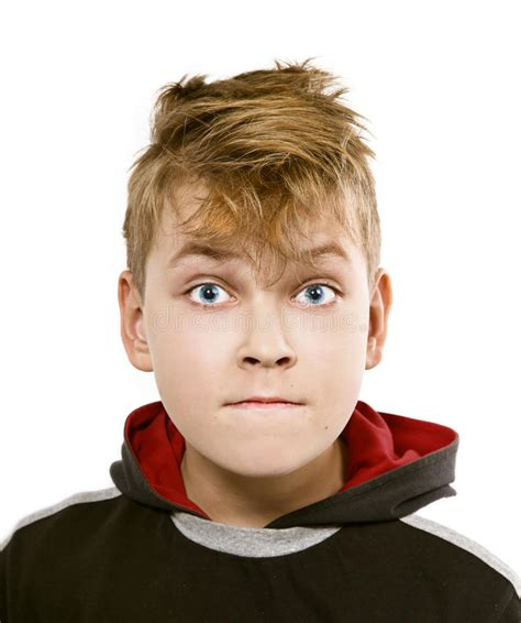 www cara on white background funny boy s face with blue eyes stock