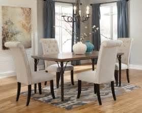 Dining Room Table And 4 Chairs Tripton Rectangular Dining Room Table 4 Uph Side Chairs D530 01 4 25 Dining Room Groups