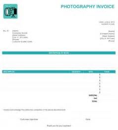 Photography Receipt Template Photography Invoice