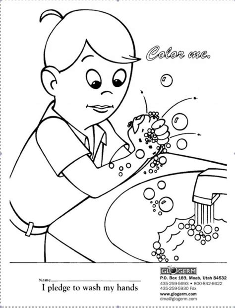free coloring pages of handwashing kids