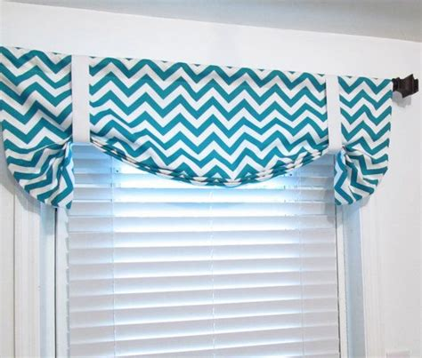 aqua chevron curtains tie up curtain valance turquoise chevron by