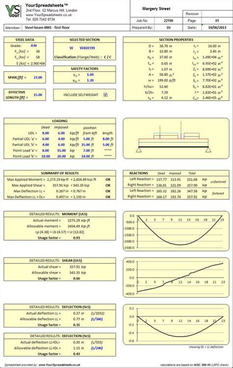 Steel Beam Design Spreadsheet by Steel Beam Design To Aisc 360 10 Yourspreadsheets