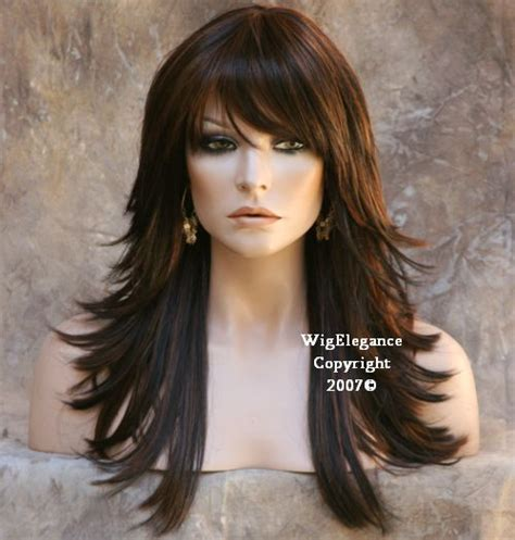 flip out gorgeous layered auburn style with side flip back multi layered black auburn mix wig wigs bangs flip fn