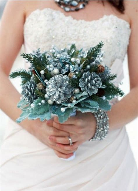 Wedding Bouquet January by Winter Wedding Bouquets Pinecones January Wedding