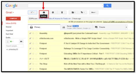How To Find By Email How To Archive All Emails In Gmail Inbox Gmail And Yahoo Tips