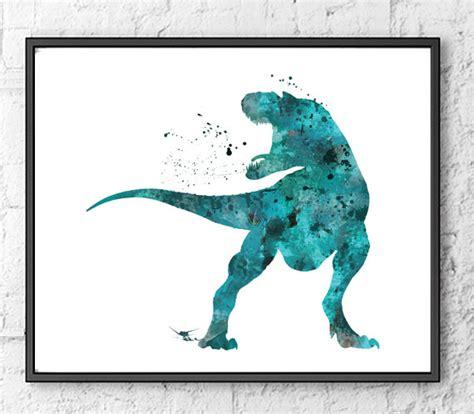 t rex watercolor print dinosaur dinosaur by gingerkidsart
