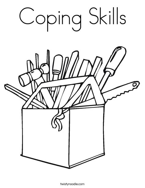 Coping Skills Coloring Pages coping skills coloring page twisty noodle