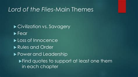 themes in lord of the flies chapter 7 dialectical journal lord of the flies ppt video online