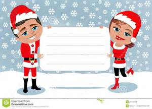 santa claus couple holding blank card royalty free stock image image 34426336