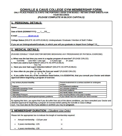 membership application template contract template 9 documents in pdf