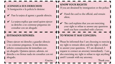 printable rights card immigration immigrant rights hispanic unity of florida