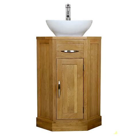 50% Off Corner Oak Cloakroom Vanity Unit with Basin