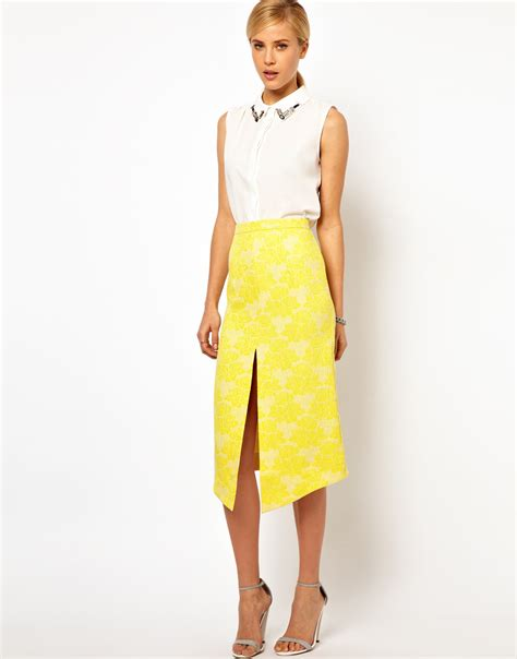 yellow pattern pencil skirt asos collection asos pencil skirt in rose jacquard in