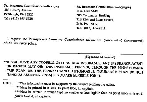 Insurance Non Renewal Letter Pennsylvania Code