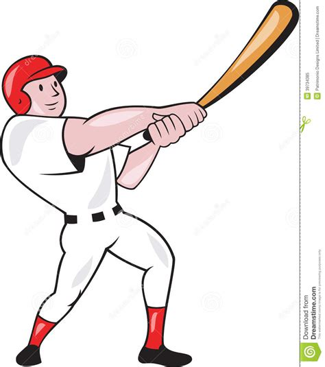 baseball player swinging bat clip art baseball player swinging bat cartoon stock vector image