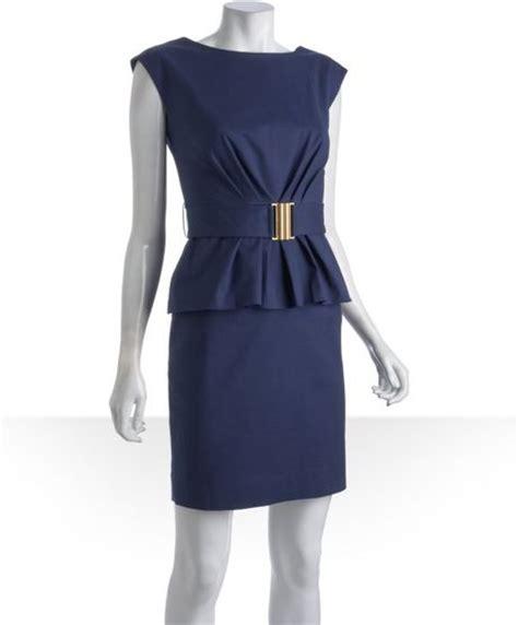 shoshanna navy stretch cotton belted peplum dress in blue
