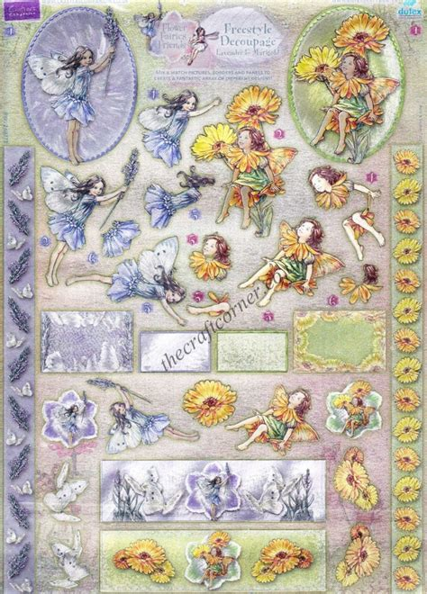 Die Cut Decoupage Sheets - lavender marigold flower freestyle 3d die cut