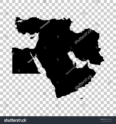 middle east map design middle east map isolated on transparent stock vector