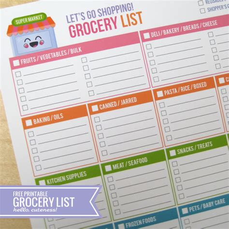 free cute printable grocery list 8 best images of cute printable grocery list template