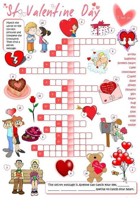 themes for english day st valentine s day crossword worksheet free esl
