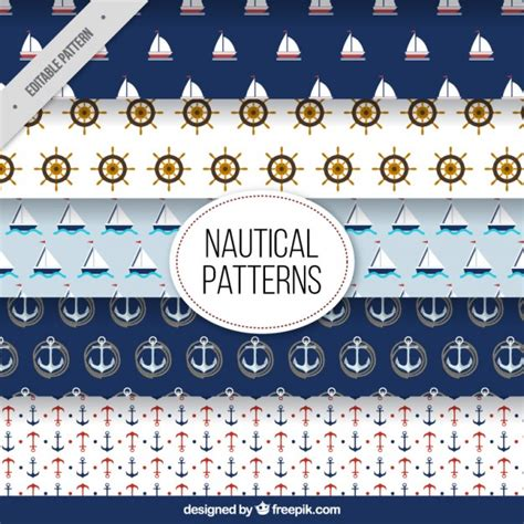 cute nautical pattern several cute nautical patterns vector premium download